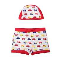 Cars Cartoon Child Swimwear Kids Swim Trunks With Hat
