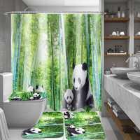 4Pcs Panda Bamboo Decor Non-Slip Rug Toilet Lid Cover Bath Mat Shower Curtain for Bathroom