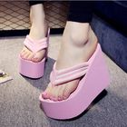 Bon prix Women Sexy High Heels Flip Flops Slippers Wedge Platform Beach Shoes