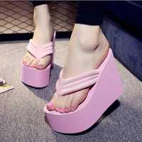 Women Sexy High Heels Flip Flops Slippers Wedge Platform Beach Shoes