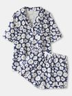 Acheter Plus Size Women Daisy Floral Print Revere Collar Chest Pocket Short Sleeve Home Pajama Set