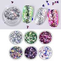 6 Colors Laser Triangle Nails Sequins Nail Decoration