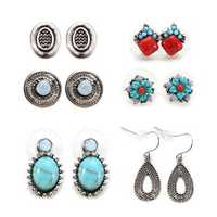 6 Pairs of Turquoise Ear Stud Alloy Rhinestones Earrings Set