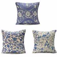 45x45cm Vintage Oriental Retro Blue Floral Linen Pillow Case Cushion Cover Home Decor