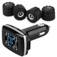 TPMS Tire Pressure Monitor System Wireless Alarm Sensor w/ 4 External Sensors + LCD Display