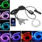 Meilleurs prix RGB LED Car Interior Optical Fiber Neon EL Wire Strip Light Kit Phone APP Control Atmosphere Light Car Lighter Type