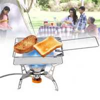 Portable Steel Foldable Rectangular Cooking Stove Toaster Bread Toast BBQ Tray Rack