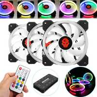 Coolmoon 3PCS 120mm Adjustable RGB LED Light Computer Case PC Cooling Fan with Remote