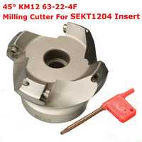 Drillpro KM12 63-22-4F 45 Degree Face Milling Cutter 4 Flutes Lathe Tool For SEKT1204 Insert