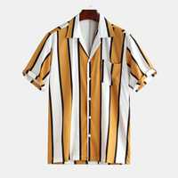 Mens Contrast Color Stripe Summer Holiday Comfy Trendy Shirt