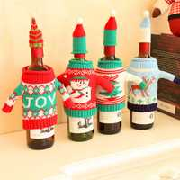 Christmas Party Wine Bottle Cover Cap Holiday Elk Tree Snowman Santa Decoration