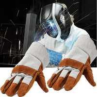 Welding Welders Work Soft Cowhide Leather Plus Gloves for Protecting Hand