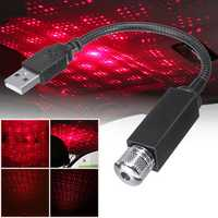 LED Car Interior Atmosphere Ceiling Night Star Light Lamp Flexible Pipe Roof Decoration USB Port
