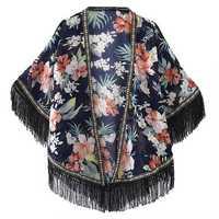 Women Laides Chiffon Flower Printed Tassel Sunscreen Scarf Multifunction Floral Beach Shawls