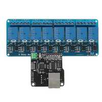 Ethernet Control Module With 8 CHs Relay Board For Arduino LAN WAN WEB Server RJ45 Android iOS