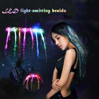12 PCS Christmas Flash Glow LED Braid Hairpin Novelty Decoration for Party Holiday Hair Extension by Optical Fiber