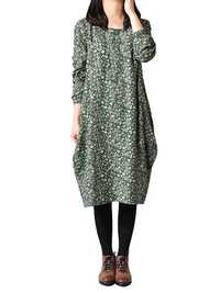 M-5XL Casual Loose Floral Printed Long Sleeve Midi Dress