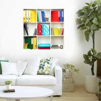 3D Riding Book Shelf Wall Decals PAG Removable Wall Art Grid Stickers Home Wall Decor Gift