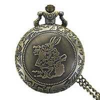 DEFFRUN Fashion Rabbit Pattern Chain Quartz Pocket Watch