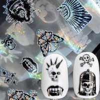 Dancingnail Nail Sticker Halloween Skull Head Punk Style Zombie Design Decoration