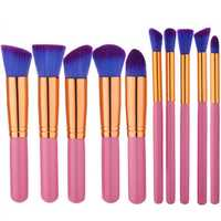 10pcs Pink Purple Soft Makeup Brushes Set Kit Eye Shadow Lips Shaping Blending Foundation Powder