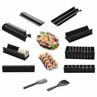 DIY 10 In 1 Sushi Maker Kit 10pcs Rice Roll Mold Kitchen Chef Set Mould Roller Cutter Sushi Making Tools