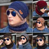 Men Women Outdoor Sports Bike Hat Winter Warm Knitted Baggy Beanie Cap Scarf Set