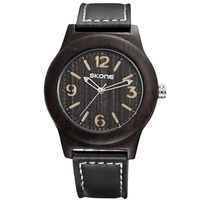 SKONE 3842 Fashion Men Quartz Watch Casual Leather Strap Wooden Wristwatch