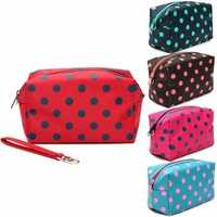 Portable Dot Makeup Bag Large Capacity Cosmetic Bags Storage Travel Women