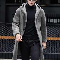 Double Sided Wearable Shearling Coat Hooded Mid Long Jacket
