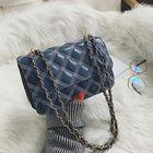Recommandé Women Fuax Leather Argyle Chain Shoulder Bag Square Bag