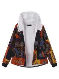Women Printed Hooded Pocket Coats