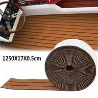 1250x17x0.5cm Long Brown EVA Foam Boat Flooring Faux Teak Decking Sheet Pad Rug