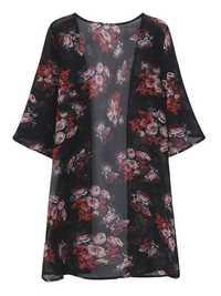 Summer Women Rose Printed Half Sleeve Chiffon Kimono Cardigans