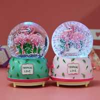 Creative Crystal Flamingo Musical Snow Globe Music Box Valentine's Birthday Gift