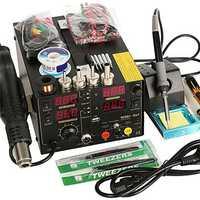 Saike 110V AC 909D+ Rework Soldering Station Hot Heat Air Gun DC USB Power Supply US Plug