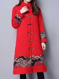 Vintage Patchwork Printing Stand Collar Long Sleeve Thick Women Coat