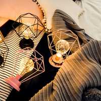 Battery Powered Retro Iron Geometric Decorated LED Night Light Bulb Table Lamp for Holiday