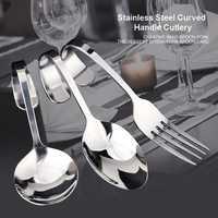 Stainless Steel Curved Handle Spoon Fork Cutlery Tableware Creative Flatwares Useful Dining Tools