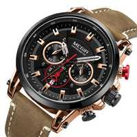 MEGIR 2085 Military Date Chronograph Leather Men Watch