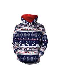 Plus Size Casual Women Blue Christmas Hooded Sweatshirts