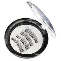 4pcs Triple Magnetic False Eyelashes 3D Black Long Thick