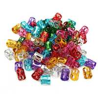 100pcs 8mm Mixed Color Dreadlock Braiding Hair Braid Adjustable Cuff Tubes DIY Clips