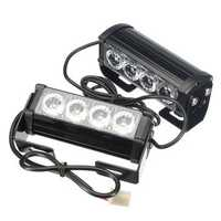Pair 12V 4-LED Strobe Flash Flashing Hazard Grille Beacons Light Lamp Bulb Truck