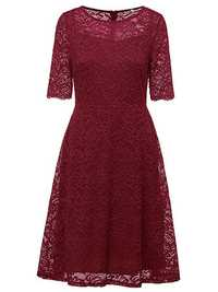 Elegant Women Lace Crochet O-Neck Zipper Short Sleeve Party Dresses