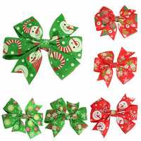 Lovely Baby Girls Christmas Hair Clips Hairpins Bowknot Xmas Accessories 6 Different Patterns