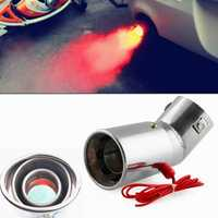 Universal Stainless steel Car LED Exhaust Muffler Tip Pipe Red Light Flaming Tail Muffler 30-63mm