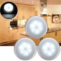 3pcs Battery Powered PIR Motion Sensor 6 LED Night Light White/Warm White Lamp for Hallway Cabinet