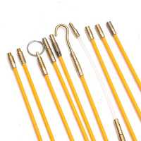 15Pcs 30FT Fiberglass Running Cable Wire Kit Coaxial Electrical Cable Installing Rods Tool
