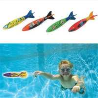 4 Pcs/Pack Torpedo Rocket Throwing Toy Swimming Pool Diving Game Torpedoes Bandits Beach Play Toys